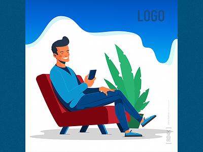 Insta Dude figma ai cartoon minimal simple modern character flat vector illustration