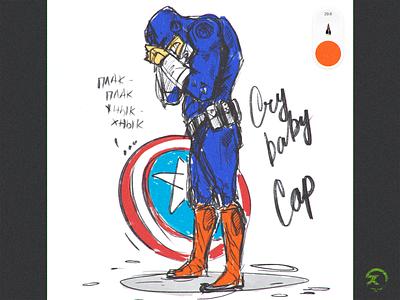 Crycap social media graphics cry captain america superhero comix speed art ipad pro sketchbooks cartoon modern character illustration