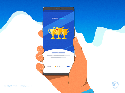Best Fx Hand phone app mobile app forex money app design ai minimal cartoon simple modern flat vector illustration