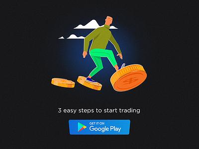 3 easy steps forex coins promo ui money app ai minimal cartoon simple character flat vector illustration