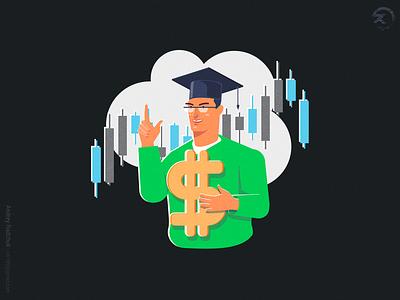 Trading school menu dude ui forex design sign ai cartoon simple character vector illustration trading