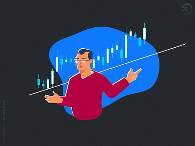Trading school menu dude 2 app design ai simple forex trading flat illustration ui character vector