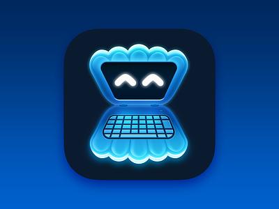 Secure Shellfish 2 blue app icon design laptop computer shellfish app icon