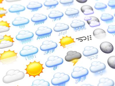 Weather Icons rain cloud sun weather icons