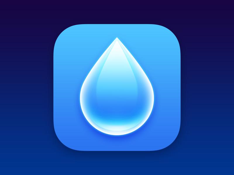 WaterMinder blue drop water illustration logo design app icon