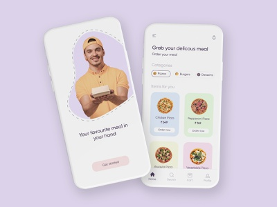 Food delivery app mobileapps uiuxdesign uiux foodapp userinterface userexperiencedesign userexperience designthinking minimal animation illustrator app ux ui illustration design