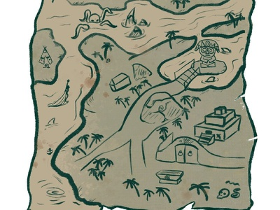 Example of a treasure map concept art gaming treasure maps