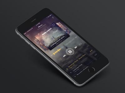 Music App Design Free .PSD uipixels black app free app iphone6 kit ui gui