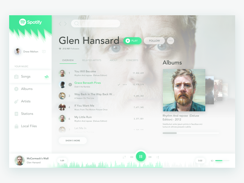 Spotify Redesign music ux redesign ui design concept spotify