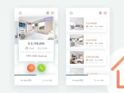 Real Estate app mobile list page design ui ux house real estate