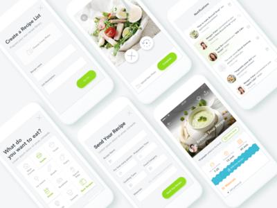 Recipe Application adding notification profile recipe filter ui ux mobile app food kitchen cook