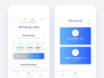 Parking app (List and My Cars page) ux ui ios blue iphone list parking car app