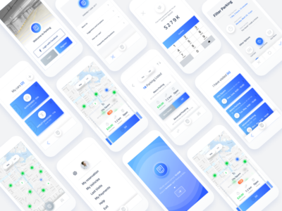 Parking App vancouver ux ui ios blue iphone list parking car app