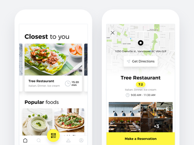 Restaurant reservation app vancouver food reservation restaurant map homepage iphone yellow ios ui ux