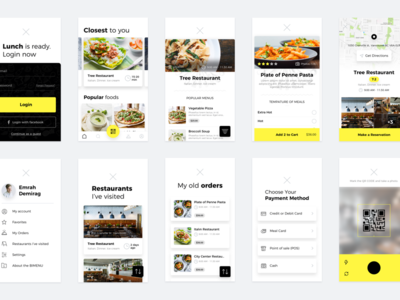 Restaurants app app system payment restaurant list iphone yellow ios ui ux