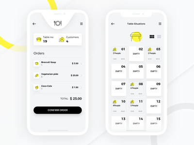 Waitress App ux ui ios yellow iphone x tables homepage map restaurant reservation waiter food waitress