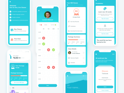 Dashboard App instructor student list learning study english education ux ui mobile homepage dashboard