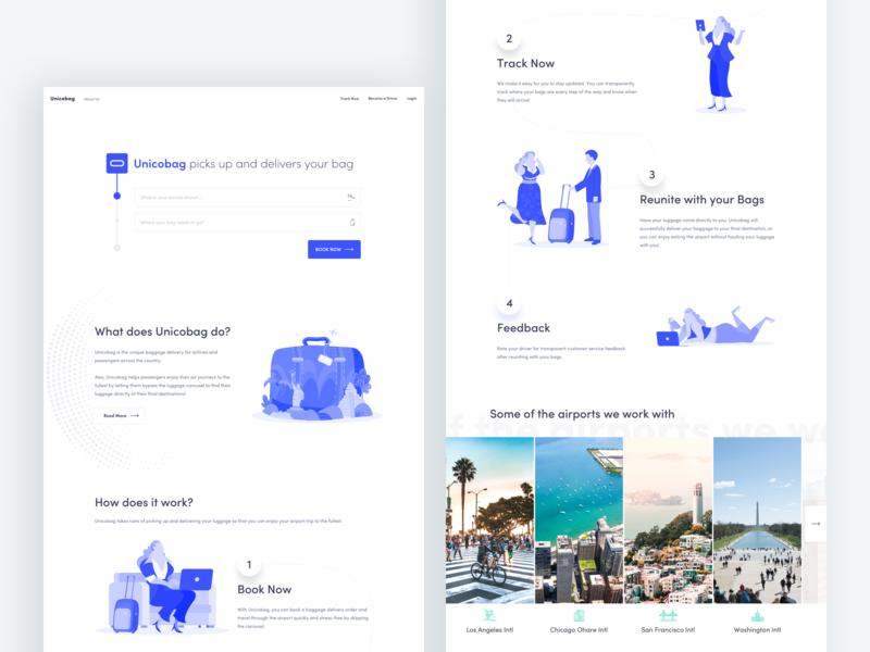 Redesign unicobag - homepage suitcase delivery luggage webdesign illustration homepage design ux ui