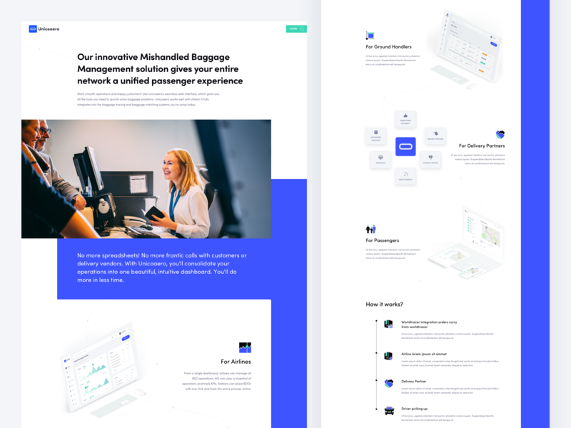 Baggage management - landing page airline airport delivery landing page website homepage design ux ui