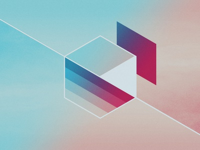 Unveil veil unveil capture abstract box divide slice fracture gradient red blue geometry