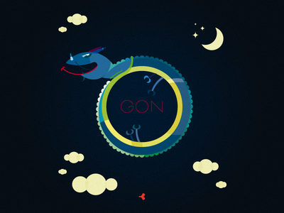 Gon | Illustration animal graphic texture cloud star sky color moon circle night dragon illustration