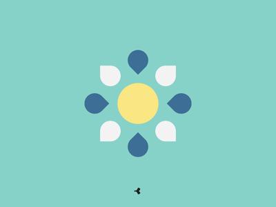 Geometric Sun | Symbol Concept graphic symmetry flat color square geometric minimal sun circle mark sign symbol
