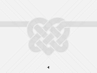 Heart Mystified | Grid infinity logo design graphic grid knot interweaving minimal heart construction sign symbol