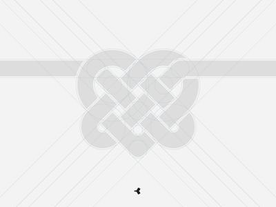 Heart Mystified | Grid infinity logo design graphic grid knot interweaving minimal heart construction sign symbol
