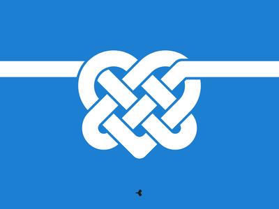 Heart Mystified | Monochromatic Version infinity logo design graphic knot mark interweaving minimal heart flat sign symbol