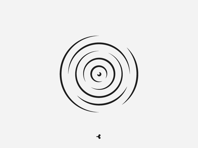Pebble in the water | Symbol Concept mark pictogram invisible waves lines propagation sound minimal concentric circle water pebble