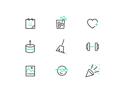 Perks of the Job party fitness health vacation perks illustration line neon green icon sets icon