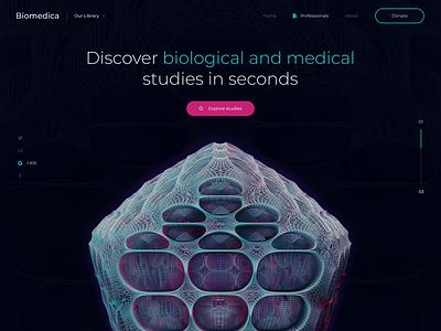 Website Animation for Sharing Medical Studies animation slick transitions smooth 3d grid layout healthcare science medicine biology medical research web design zajno motion design