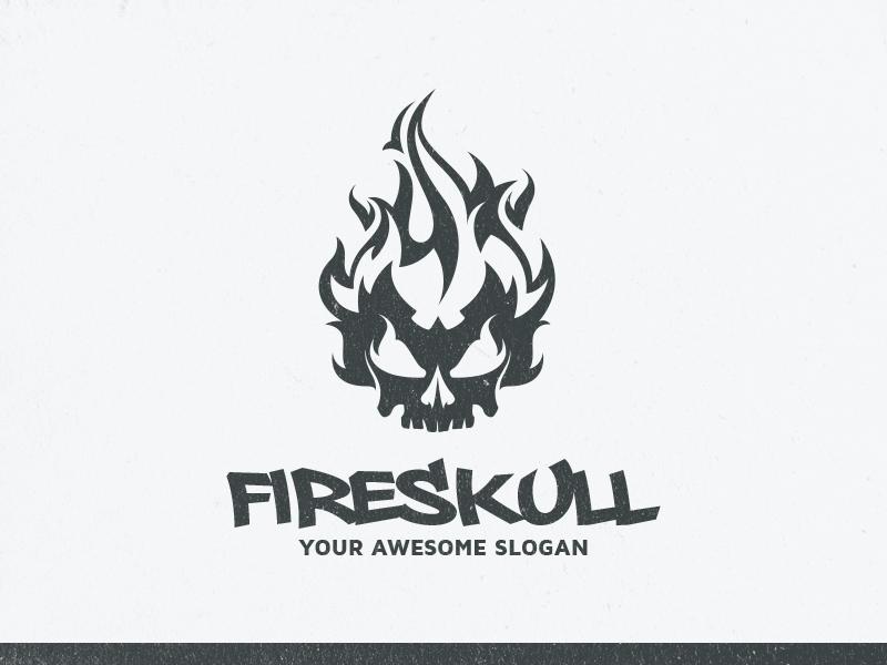 Fire Skull Logo Template design vector template logo skull fire