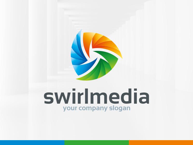 Swirl Media Logo Template swirl vector template logo symmetrical abstract 3d