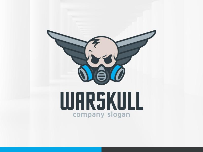 War Skull Logo Template Vector Wings Mask Gas