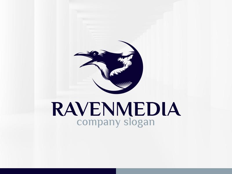 Raven Media Logo Template sale eps psd vector template logo bird raven