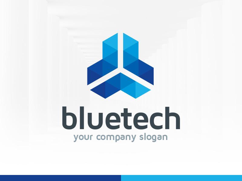 Blue Tech Logo Template psd vector tech blue template logo symmetry triangle