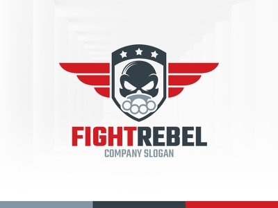 Fight Rebel Logo Template vector template logo knuckle duster skull wings badge