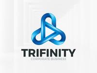 Triple Infinity Logo Template Blue
