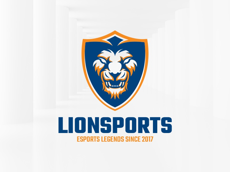 Lion Sports Logo Template template vector design head logo sports shield lion