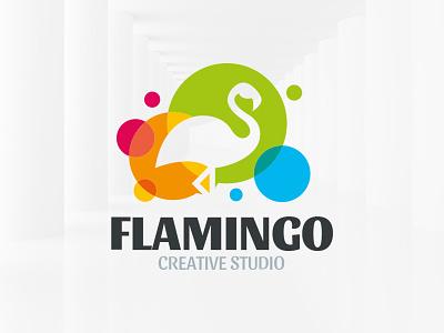 Colorful Flamingo Logo Template branding envato sale template vector logo flamingo