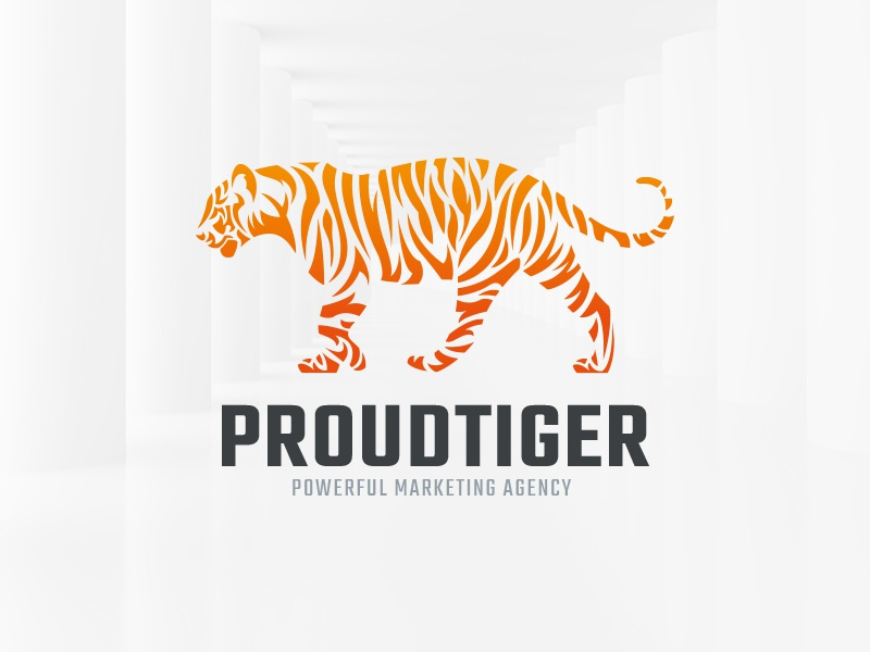 Proud Tiger Logo Template sale illustration shape vector logo tiger