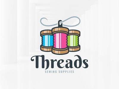 Threads Logo Template template vector logo needle yarn sewing spool threads