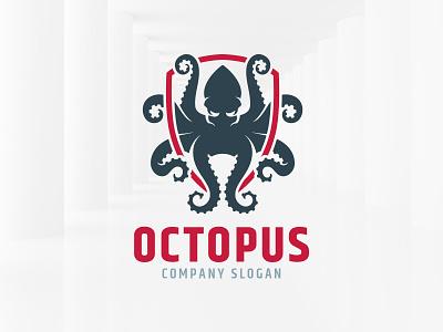 Octopus Logo Template branding template logo illustration vector shield squid octopus