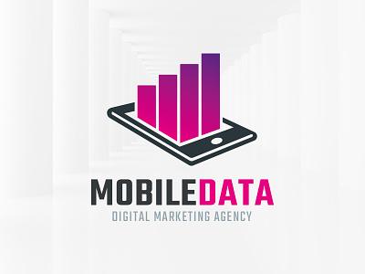 Mobile Data Logo Template template buy sale logo phone data graph bars stats mobile vector