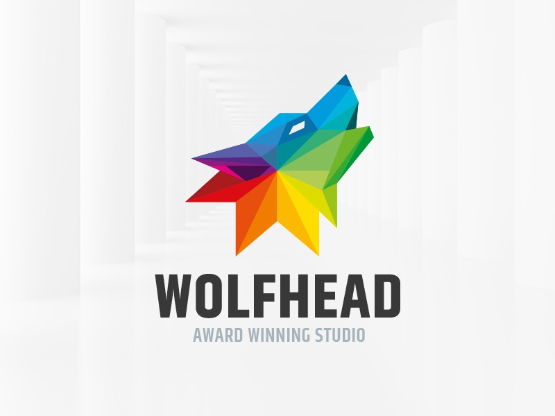 Wolf Head Logo Template template sale vector logo head polygon wolf colorful