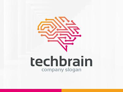 Tech Brain Logo Template template logo digital vector mind connection brain tech