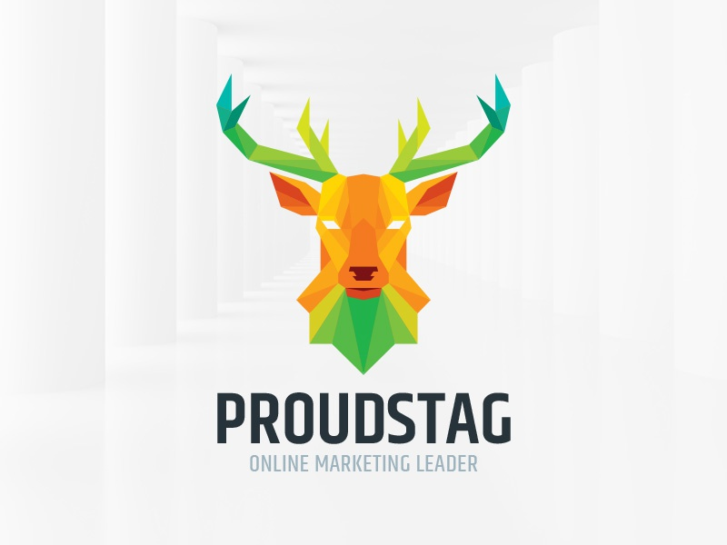 Proud Stag Logo Template template logo vector low poly polygon deer head stag