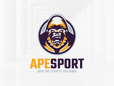 Ape Sport Logo Template vector sale template logo silverback monkey gorilla ape
