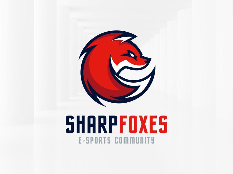 Sharp Fox Logo Template Sale Gaming Esports Vector